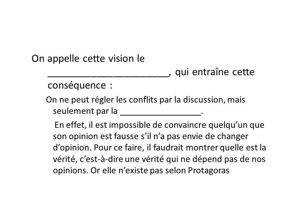 On appelle cette vision le ______________________, qui entraîne cette conséquence : On ne peut régler les conflits par la discussion, mais seulement p