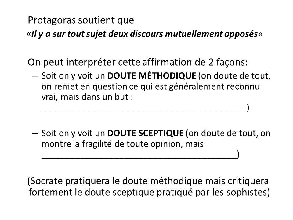 Protagoras soutient que «Il y a sur tout sujet deux discours mutuellement opposés» On peut interpréter cette affirmation de 2 façons: – Soit on y voit