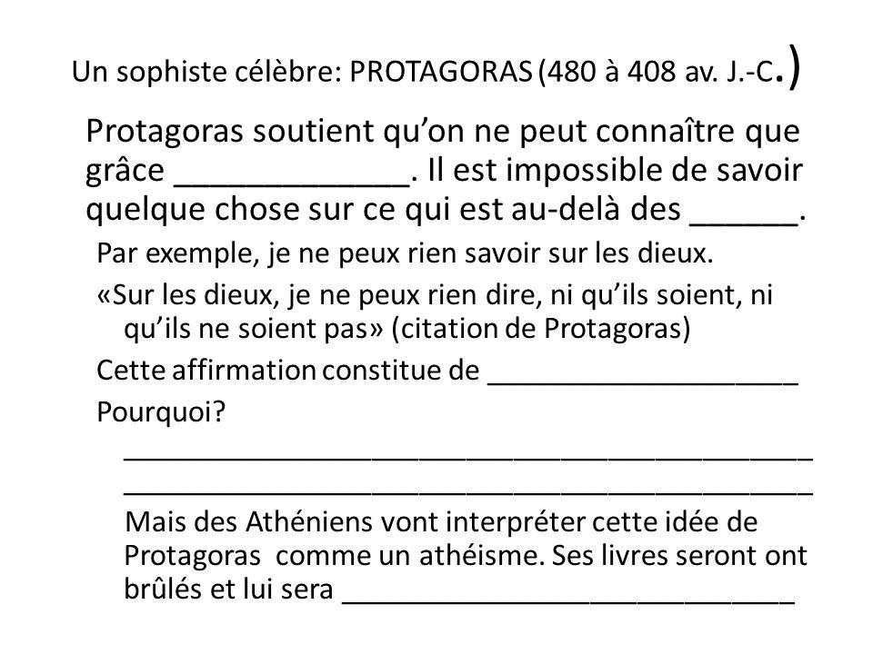 Un sophiste célèbre: PROTAGORAS (480 à 408 av. J.-C.) Protagoras soutient quon ne peut connaître que grâce _____________. Il est impossible de savoir