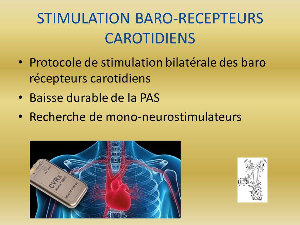 STIMULATION BARO-RECEPTEURS CAROTIDIENS Protocole de stimulation bilatérale des baro récepteurs carotidiens Baisse durable de la PAS Recherche de mono