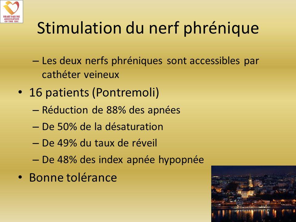 Stimulation du nerf phrénique – Les deux nerfs phréniques sont accessibles par cathéter veineux 16 patients (Pontremoli) – Réduction de 88% des apnées