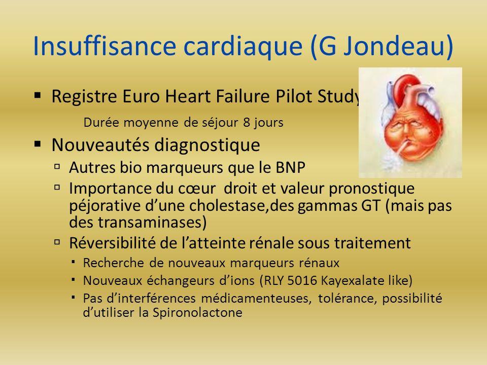 Insuffisance cardiaque (G Jondeau) Registre Euro Heart Failure Pilot Study Durée moyenne de séjour 8 jours Nouveautés diagnostique Autres bio marqueur