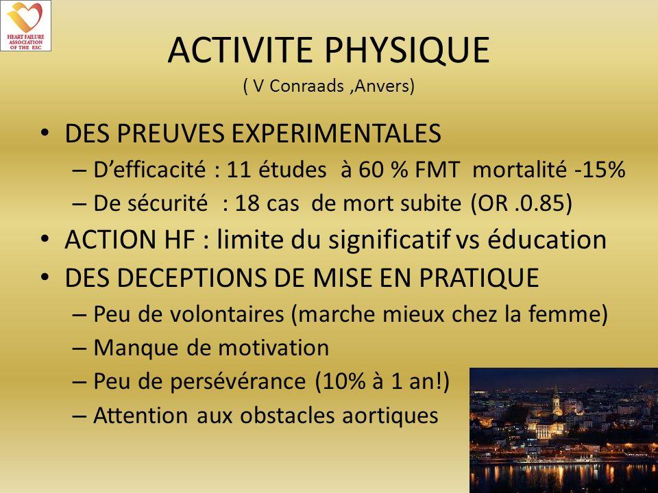 ACTIVITE PHYSIQUE ( V Conraads,Anvers) DES PREUVES EXPERIMENTALES – Defficacité : 11 études à 60 % FMT mortalité -15% – De sécurité : 18 cas de mort s