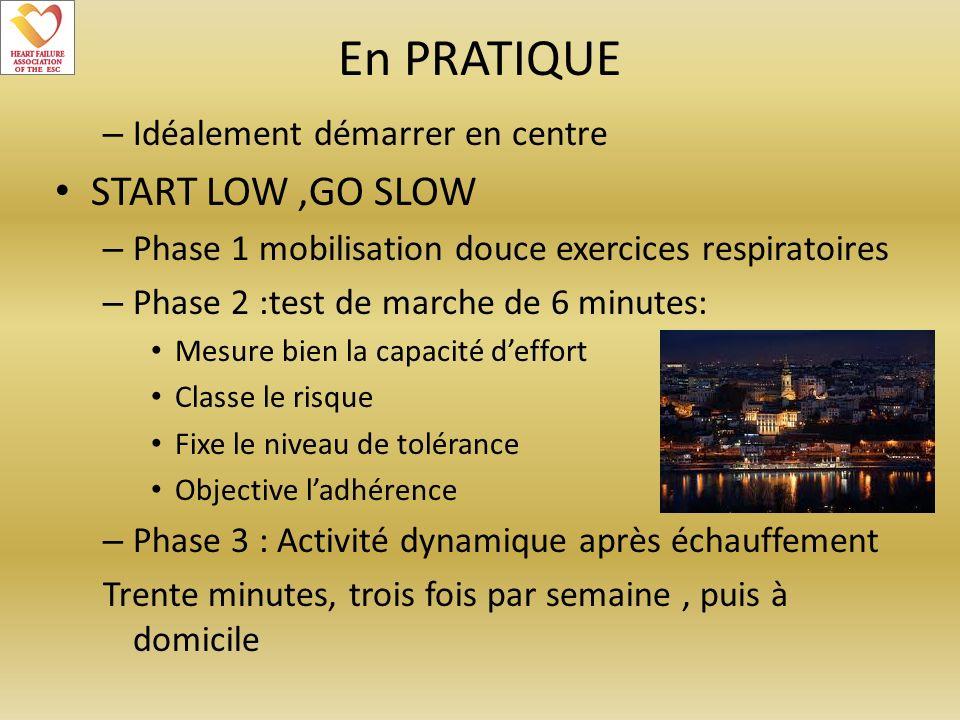 En PRATIQUE – Idéalement démarrer en centre START LOW,GO SLOW – Phase 1 mobilisation douce exercices respiratoires – Phase 2 :test de marche de 6 minu