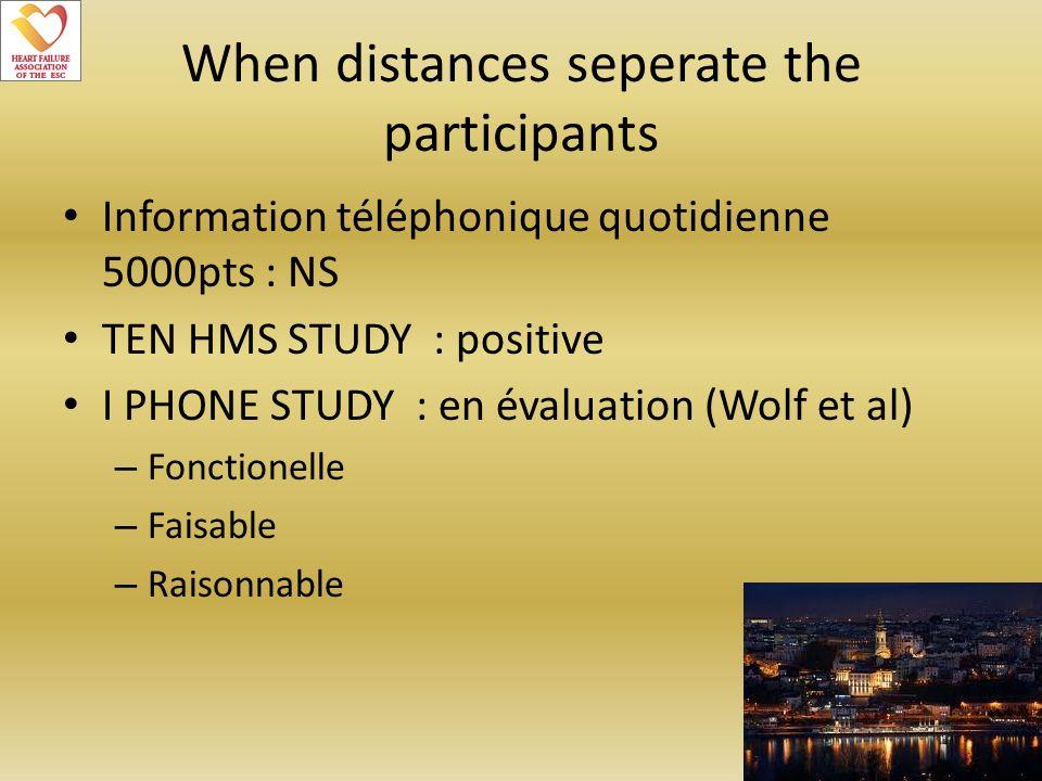 When distances seperate the participants Information téléphonique quotidienne 5000pts : NS TEN HMS STUDY : positive I PHONE STUDY : en évaluation (Wol