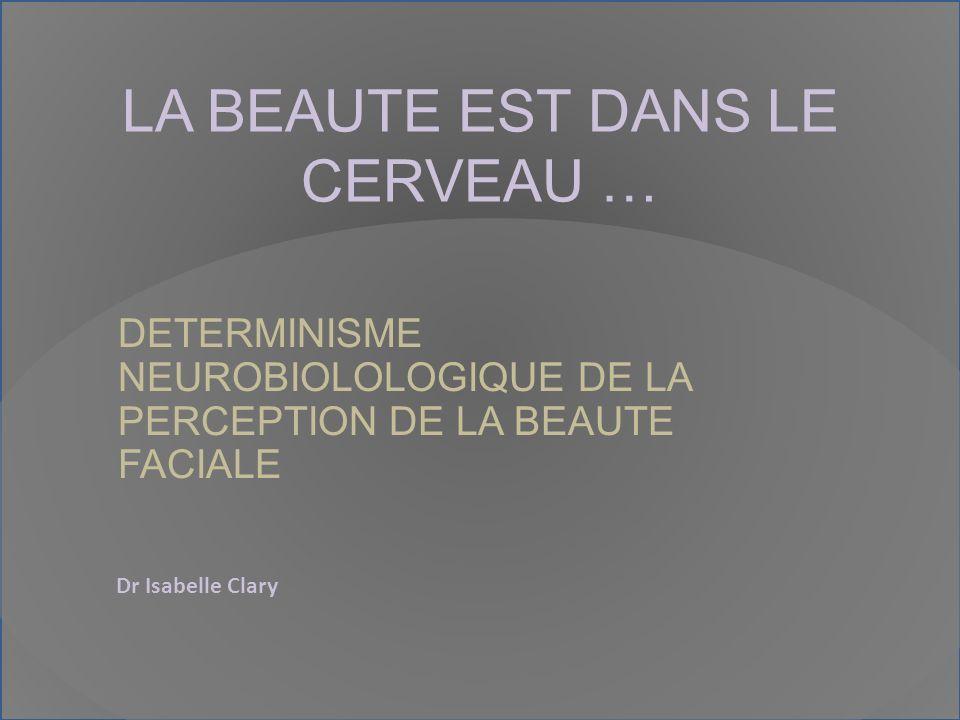 LA BEAUTE EST DANS LE CERVEAU … DETERMINISME NEUROBIOLOLOGIQUE DE LA PERCEPTION DE LA BEAUTE FACIALE Dr Isabelle Clary