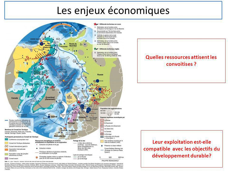 Les enjeux économiques Quelles ressources attisent les convoitises ? Leur exploitation est-elle compatible avec les objectifs du développement durable