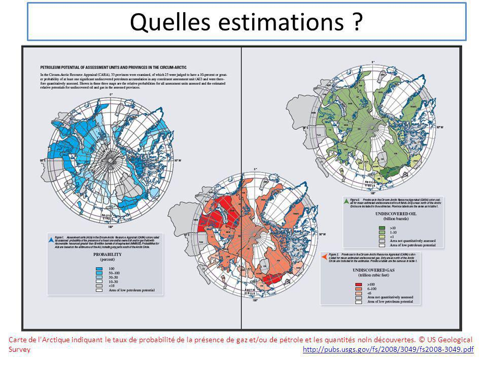 Quelles estimations ? Carte de l'Arctique indiquant le taux de probabilité de la présence de gaz et/ou de pétrole et les quantités noln découvertes. ©