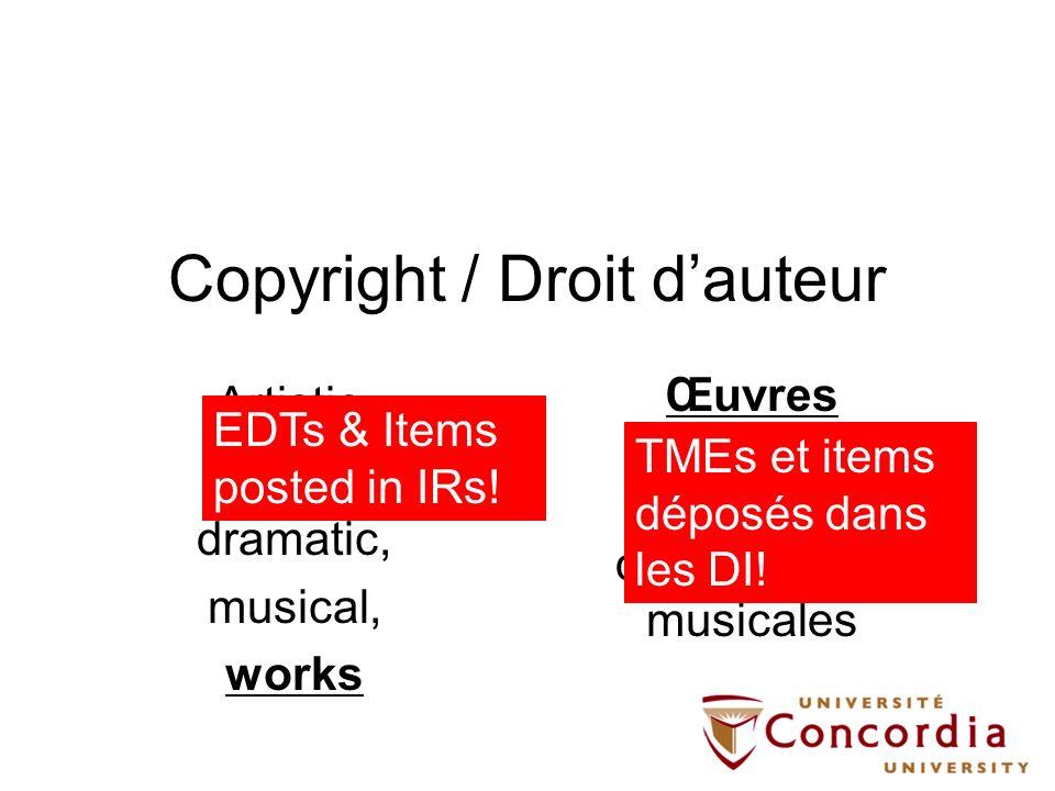 © = contrôle (1) Protéger le marché économique dune oeuvre (titulaire) (2) Protéger la démarche artistique (créateur) (1) Protect a works economic market (right-holder) (2) Protect the creative endeavour (creator)