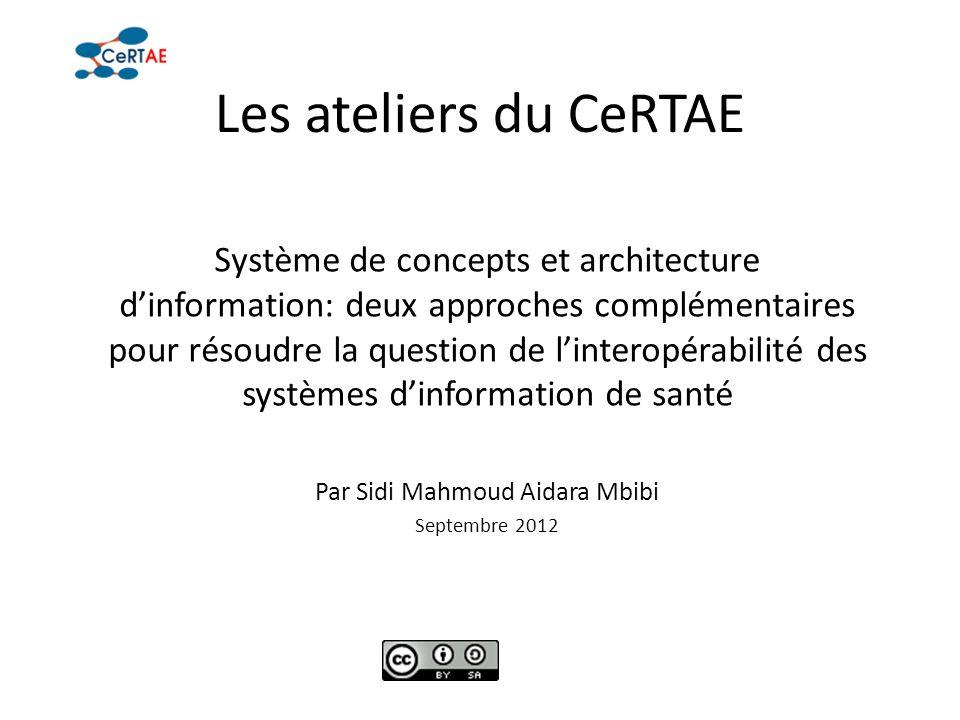 Les ateliers du CeRTAE Système de concepts et architecture dinformation: deux approches complémentaires pour résoudre la question de linteropérabilité