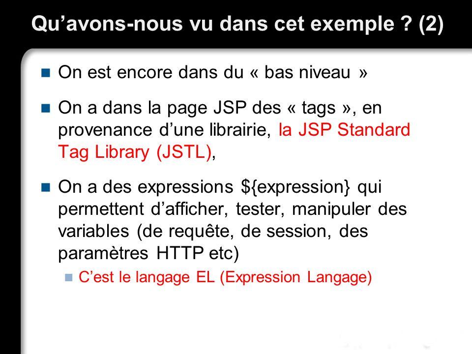 Quavons-nous vu dans cet exemple ? (2) On est encore dans du « bas niveau » On a dans la page JSP des « tags », en provenance dune librairie, la JSP S