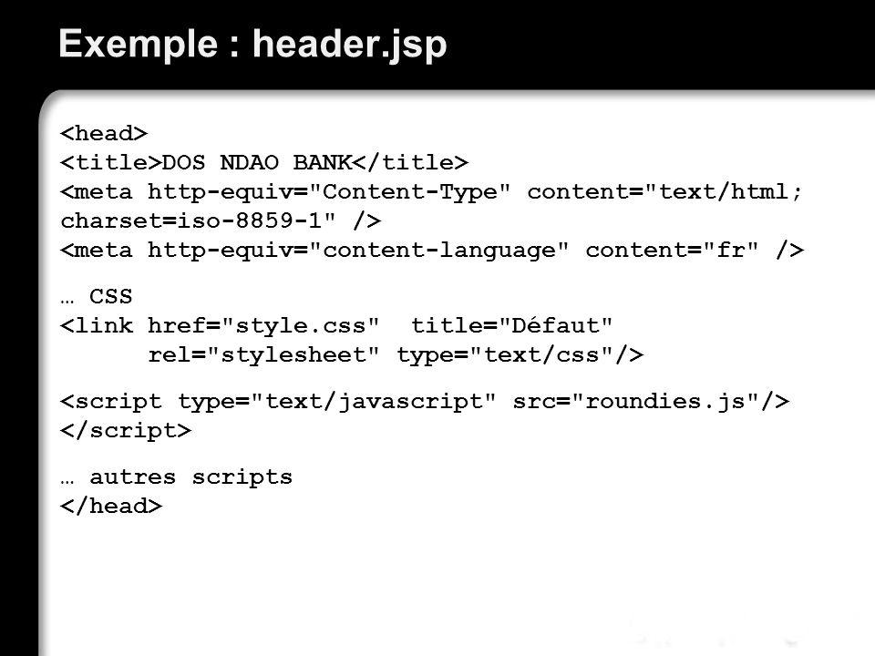 Exemple : header.jsp DOS NDAO BANK … CSS … autres scripts