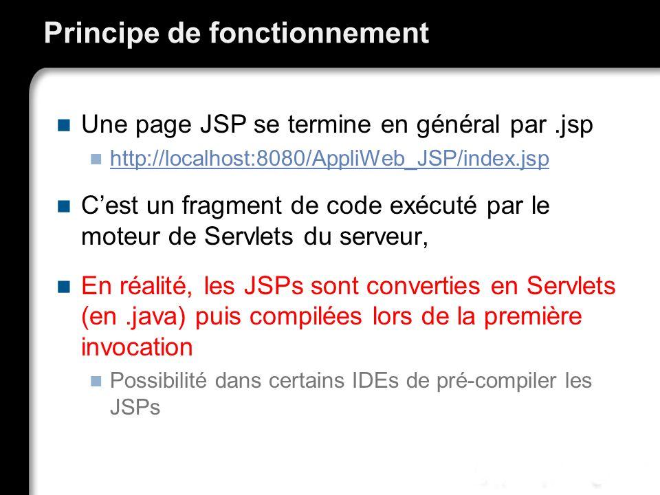 Principe de fonctionnement Une page JSP se termine en général par.jsp http://localhost:8080/AppliWeb_JSP/index.jsp Cest un fragment de code exécuté pa