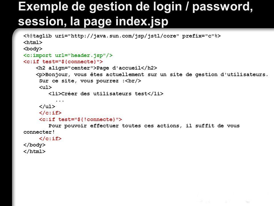 Exemple de gestion de login / password, session, la page index.jsp Page d'accueil Bonjour, vous êtes actuellement sur un site de gestion d'utilisateur