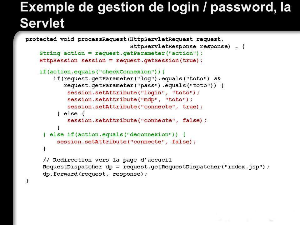Exemple de gestion de login / password, la Servlet protected void processRequest(HttpServletRequest request, HttpServletResponse response) … { String