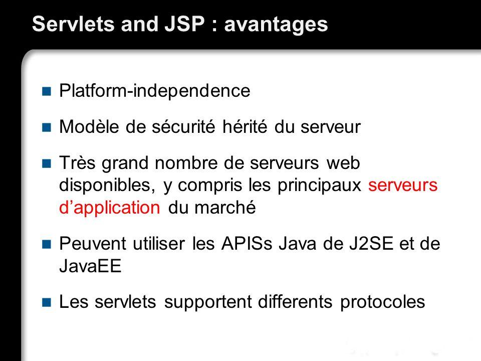 Servlets and JSP : avantages Platform-independence Modèle de sécurité hérité du serveur Très grand nombre de serveurs web disponibles, y compris les p