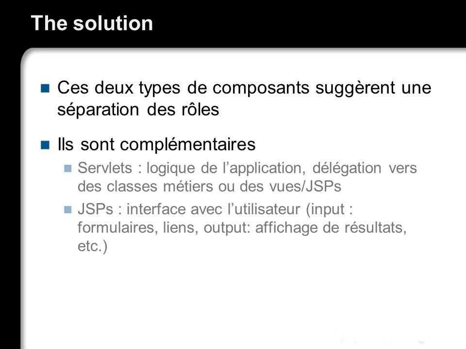 The solution Ces deux types de composants suggèrent une séparation des rôles Ils sont complémentaires Servlets : logique de lapplication, délégation v