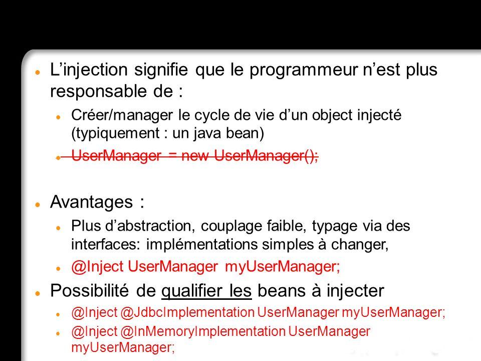 Injection? What is that? Linjection signifie que le programmeur nest plus responsable de : Créer/manager le cycle de vie dun object injecté (typiqueme