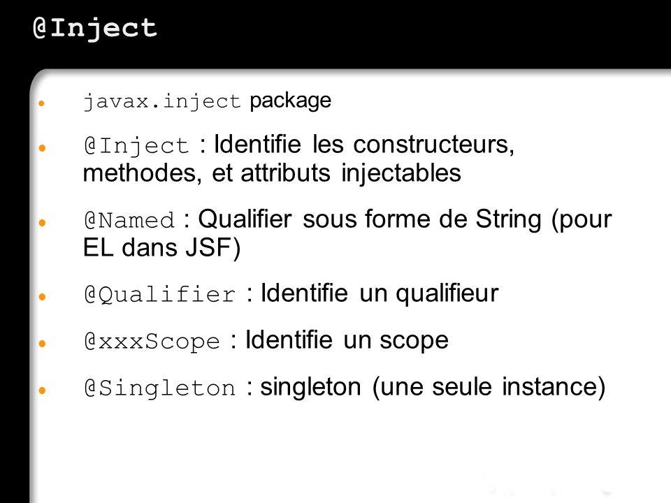 @Inject javax.inject package @Inject : Identifie les constructeurs, methodes, et attributs injectables @Named : Qualifier sous forme de String (pour E