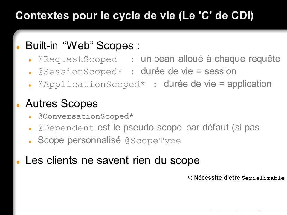 Contextes pour le cycle de vie (Le 'C' de CDI) Built-in Web Scopes : @RequestScoped : un bean alloué à chaque requête @SessionScoped* : durée de vie =