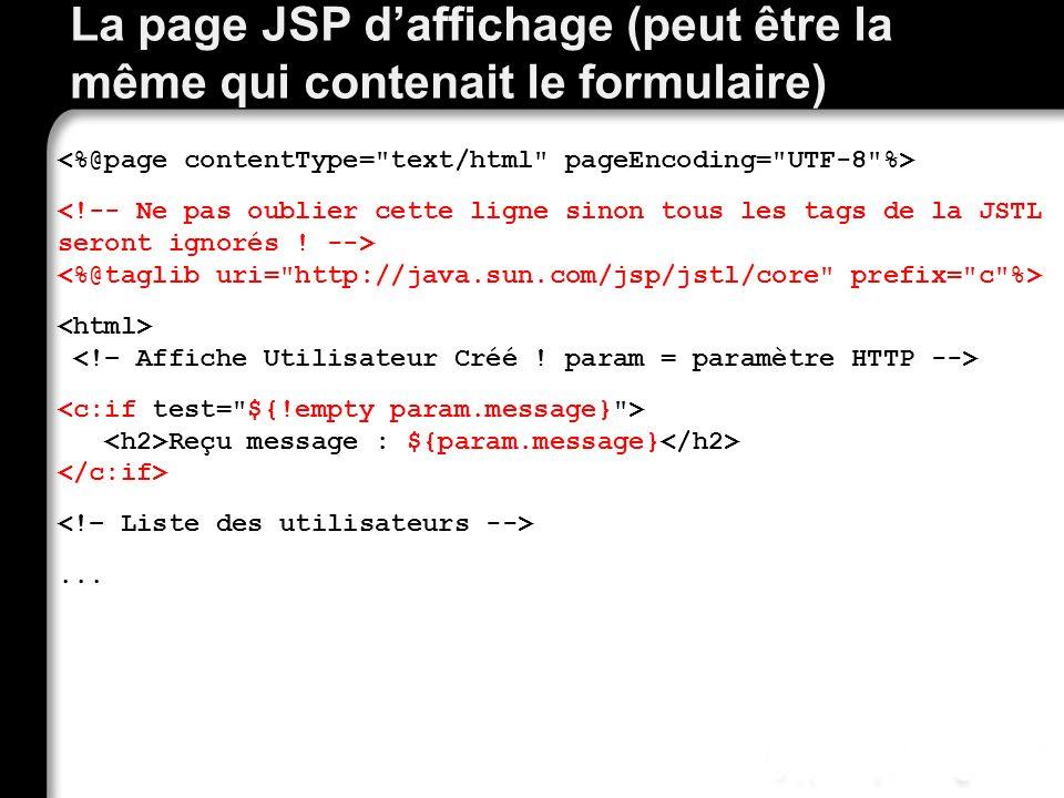 Best practices pour les Servlets et JSPs