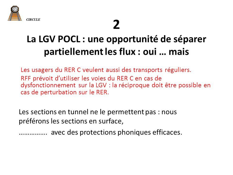 CIRCULE 2 La LGV POCL : une opportunité de séparer partiellement les flux : oui … mais Les usagers du RER C veulent aussi des transports réguliers.