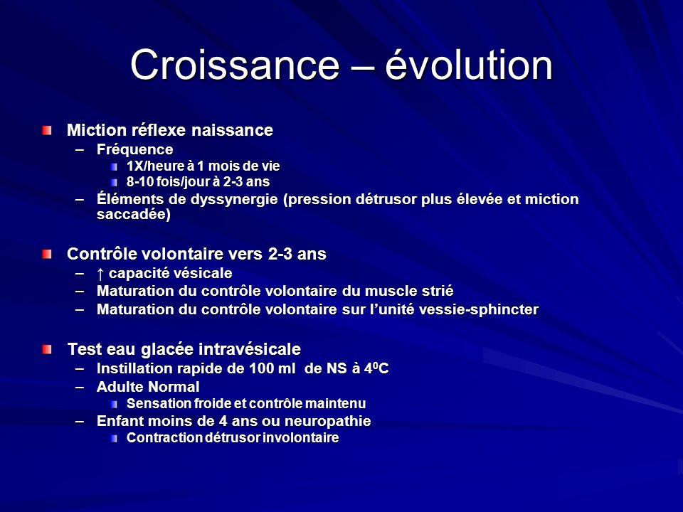 Croissance – évolution Miction réflexe naissance –Fréquence 1X/heure à 1 mois de vie 8-10 fois/jour à 2-3 ans –Éléments de dyssynergie (pression détru