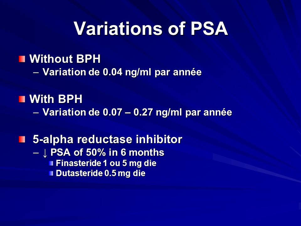Variations of PSA Without BPH –Variation de 0.04 ng/ml par année With BPH –Variation de 0.07 – 0.27 ng/ml par année 5-alpha reductase inhibitor 5-alph