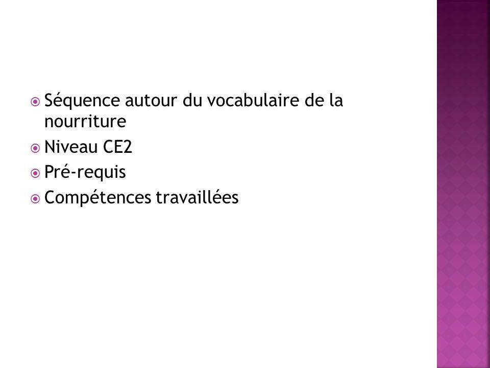 Séquence autour du vocabulaire de la nourriture Niveau CE2 Pré-requis Compétences travaillées