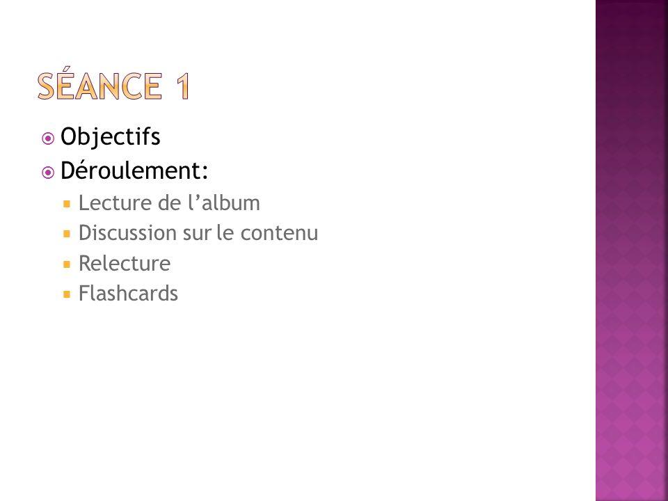 Objectifs Déroulement: Lecture de lalbum Discussion sur le contenu Relecture Flashcards