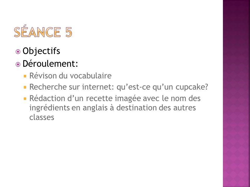 Objectifs Déroulement: Révison du vocabulaire Recherche sur internet: quest-ce quun cupcake? Rédaction dun recette imagée avec le nom des ingrédients