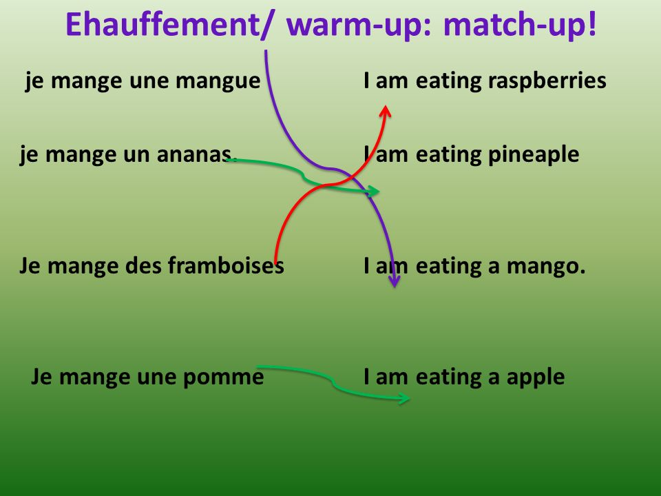 Ehauffement/ warm-up: match-up. je mange une mangue je mange un ananas.