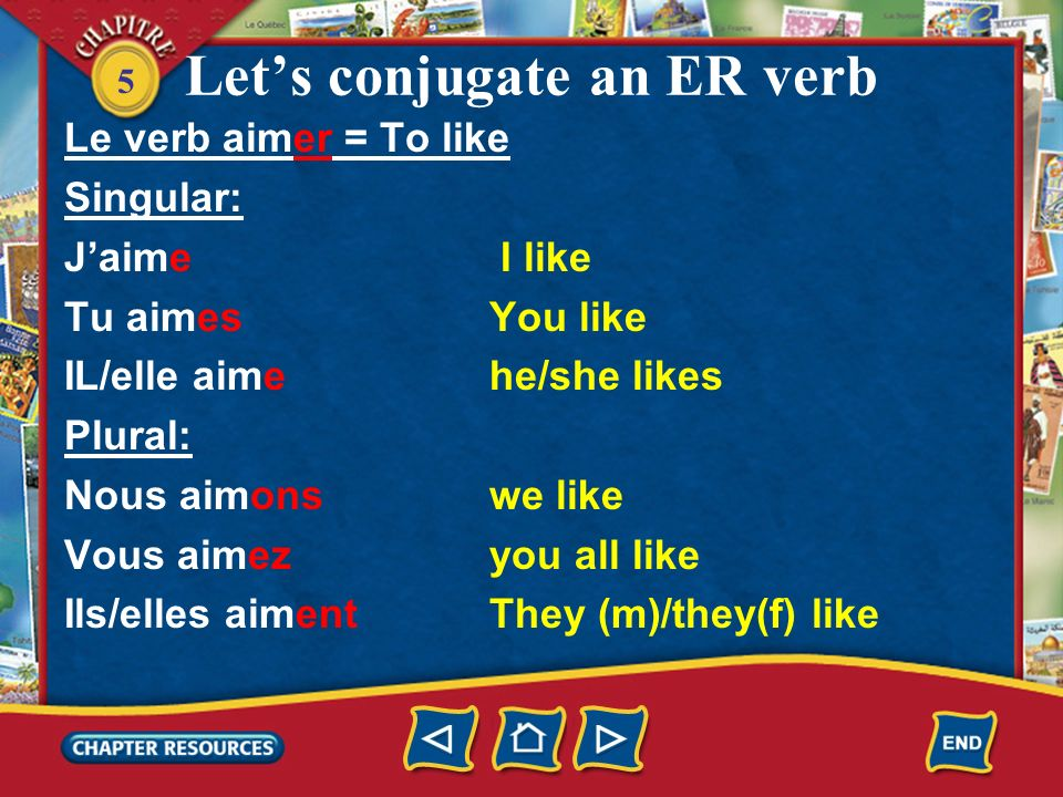 5 Lets conjugate an ER verb Le verb aimer = To like Singular: Jaime I like Tu aimes You like IL/elle aime he/she likes Plural: Nous aimons we like Vous aimezyou all like Ils/elles aimentThey (m)/they(f) like