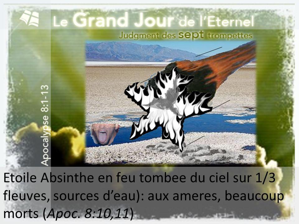 Etoile Absinthe en feu tombee du ciel sur 1/3 fleuves, sources deau): aux ameres, beaucoup morts (Apoc. 8:10,11)