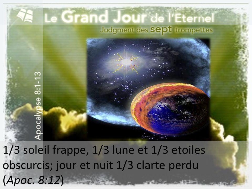 1/3 soleil frappe, 1/3 lune et 1/3 etoiles obscurcis; jour et nuit 1/3 clarte perdu (Apoc. 8:12)