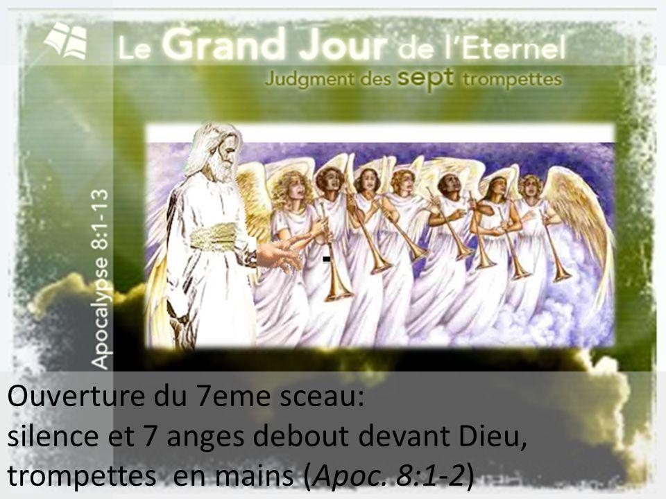 Ouverture du 7eme sceau: silence et 7 anges debout devant Dieu, trompettes en mains (Apoc. 8:1-2)