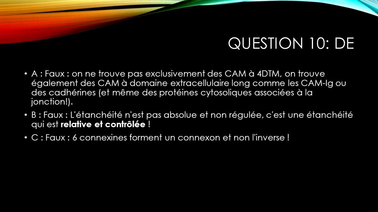 QUESTION 10: DE A : Faux : on ne trouve pas exclusivement des CAM à 4DTM, on trouve également des CAM à domaine extracellulaire long comme les CAM-Ig