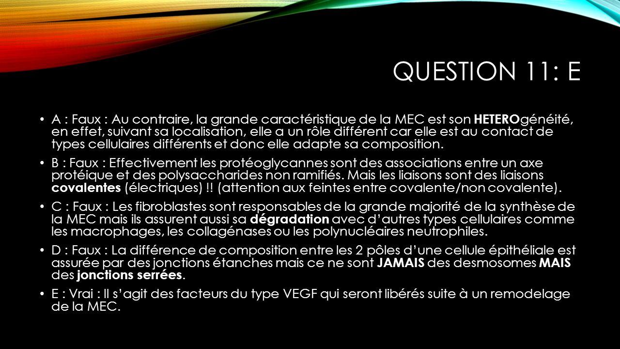 QUESTION 11: E A : Faux : Au contraire, la grande caractéristique de la MEC est son HETERO généité, en effet, suivant sa localisation, elle a un rôle