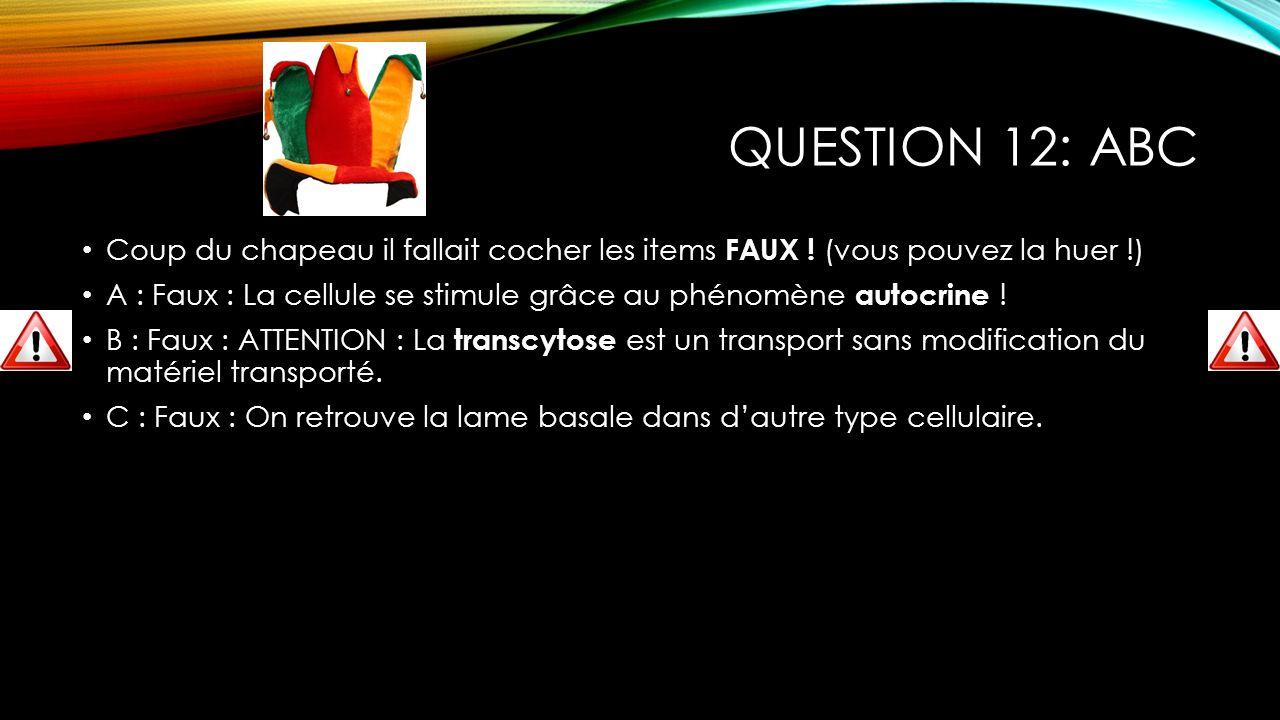 QUESTION 12: ABC Coup du chapeau il fallait cocher les items FAUX ! (vous pouvez la huer !) A : Faux : La cellule se stimule grâce au phénomène autocr