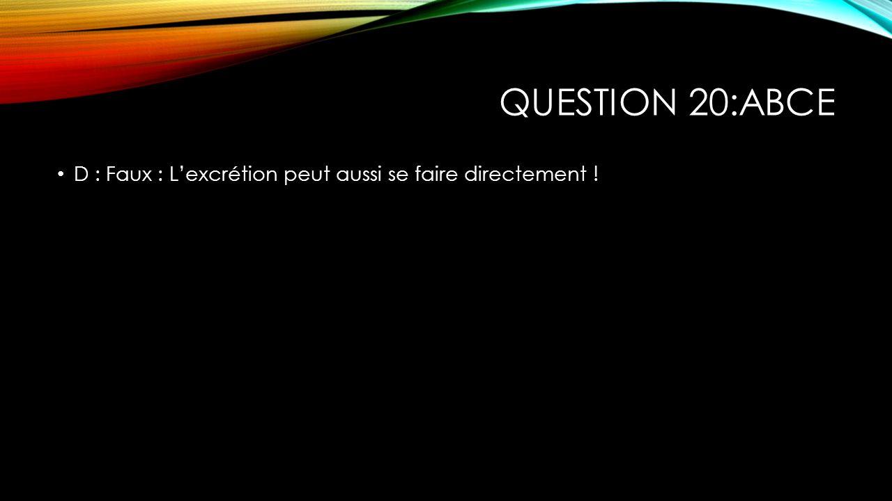 QUESTION 20:ABCE D : Faux : Lexcrétion peut aussi se faire directement !
