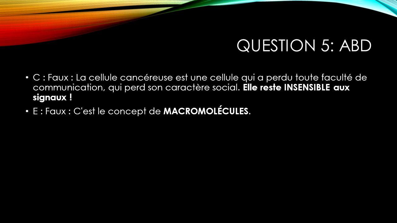 QUESTION 6: DE Coup du Chapeau : Il fallait cocher les fausses .