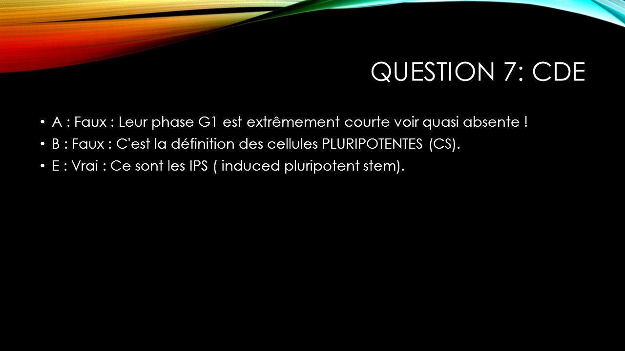 QUESTION 7: CDE A : Faux : Leur phase G1 est extrêmement courte voir quasi absente ! B : Faux : C'est la définition des cellules PLURIPOTENTES (CS). E