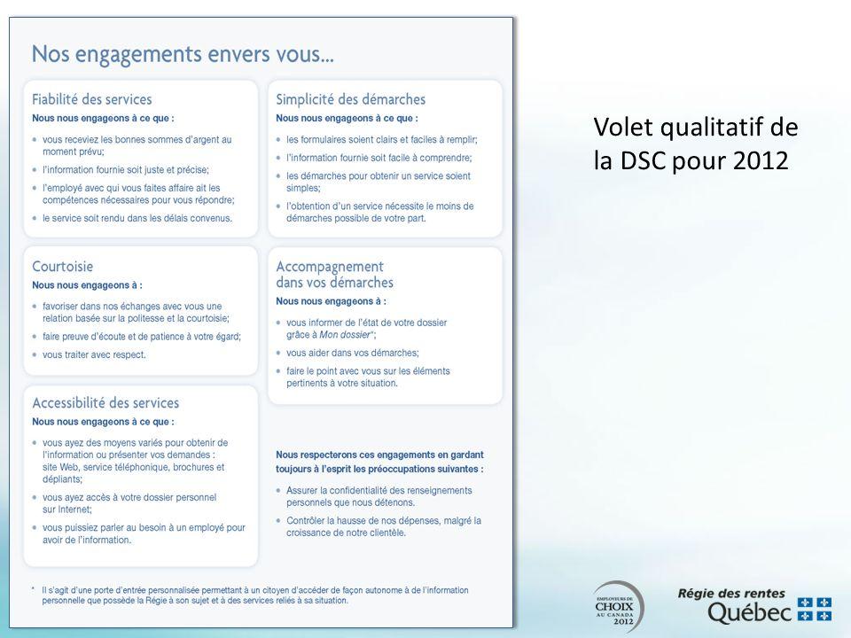 Volet qualitatif de la DSC pour 2012