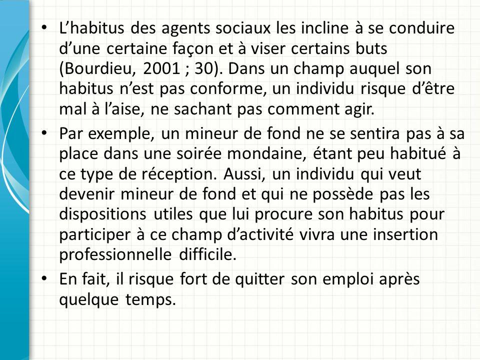 Lhabitus des agents sociaux les incline à se conduire dune certaine façon et à viser certains buts (Bourdieu, 2001 ; 30).