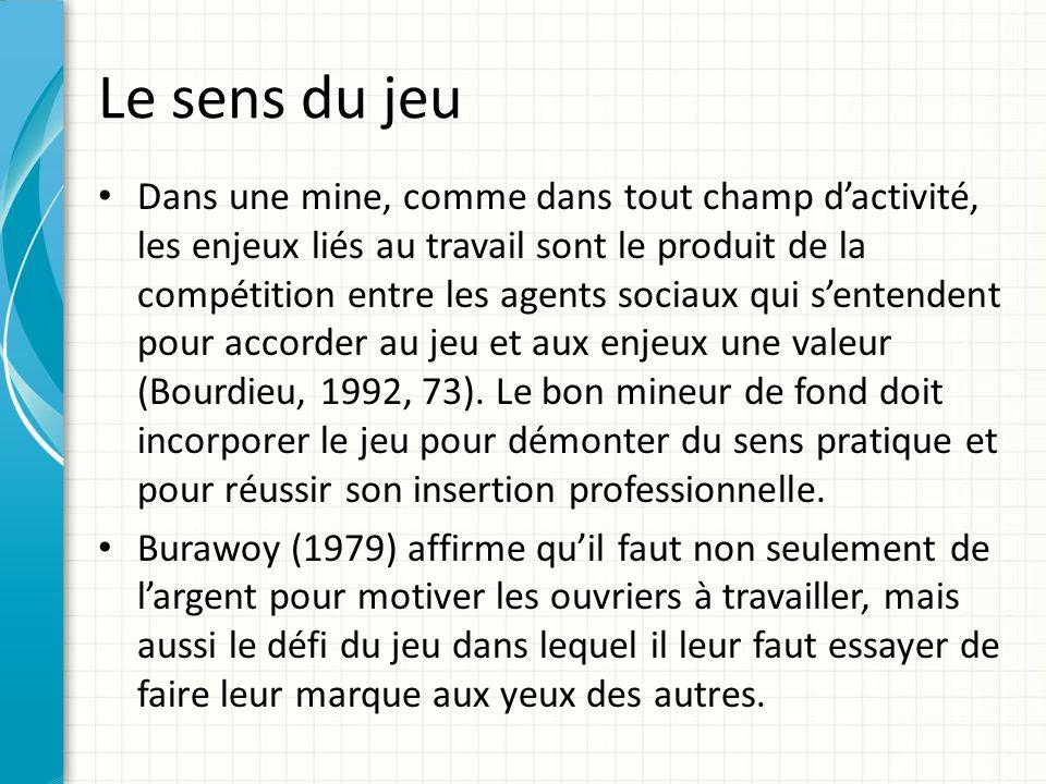 Le sens du jeu Dans une mine, comme dans tout champ dactivité, les enjeux liés au travail sont le produit de la compétition entre les agents sociaux qui sentendent pour accorder au jeu et aux enjeux une valeur (Bourdieu, 1992, 73).