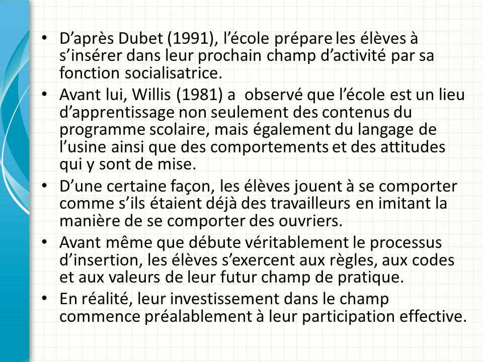 Daprès Dubet (1991), lécole prépare les élèves à sinsérer dans leur prochain champ dactivité par sa fonction socialisatrice.