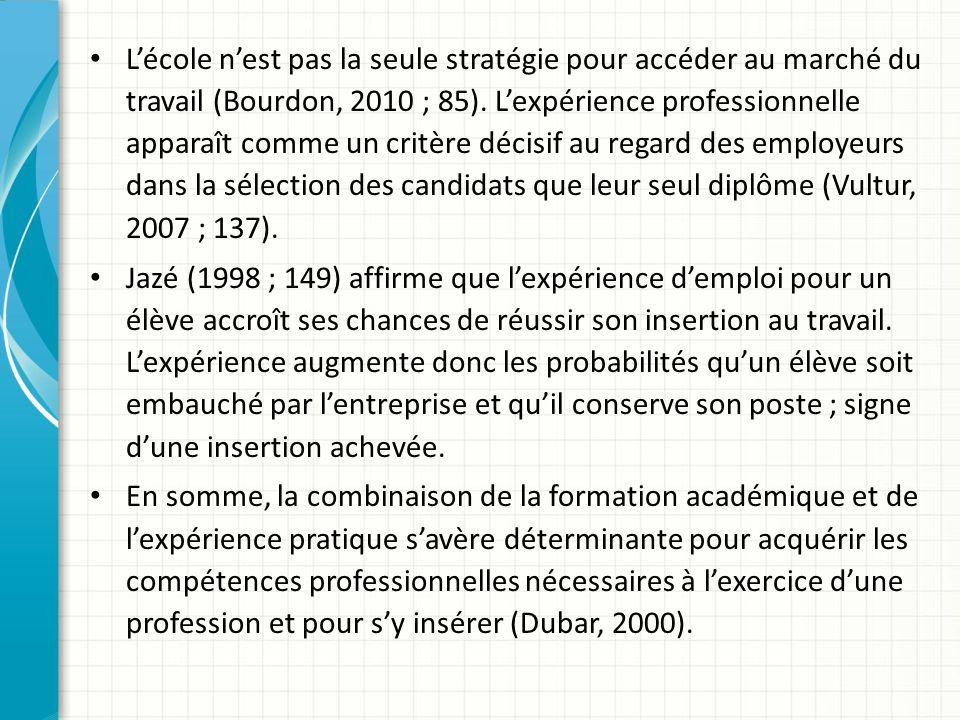 Lécole nest pas la seule stratégie pour accéder au marché du travail (Bourdon, 2010 ; 85).