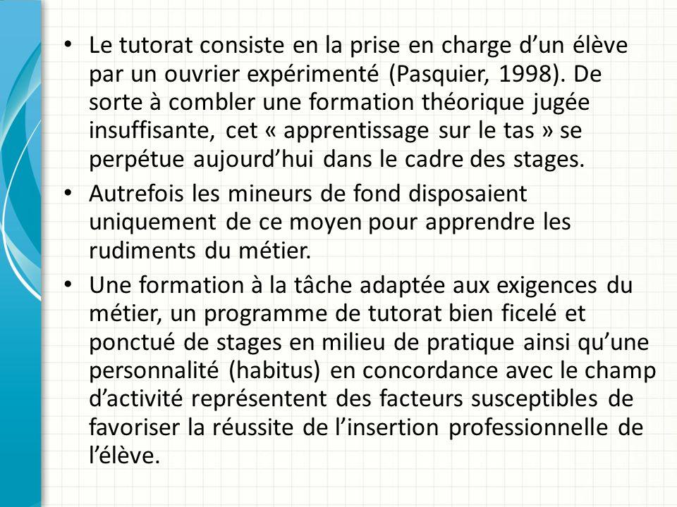 Le tutorat consiste en la prise en charge dun élève par un ouvrier expérimenté (Pasquier, 1998).
