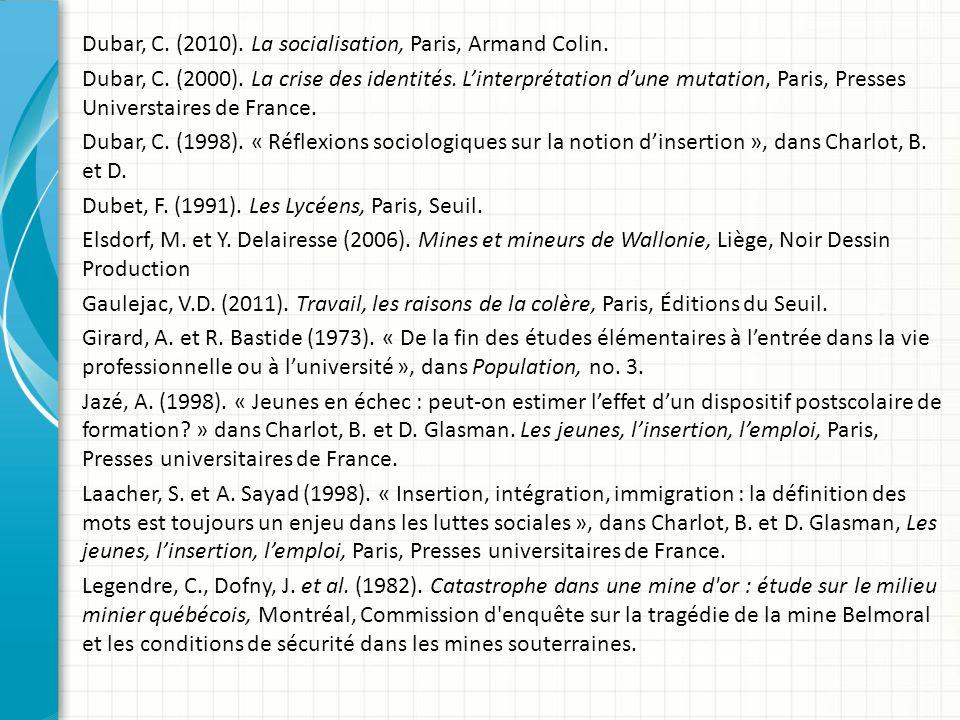 Dubar, C.(2010). La socialisation, Paris, Armand Colin.