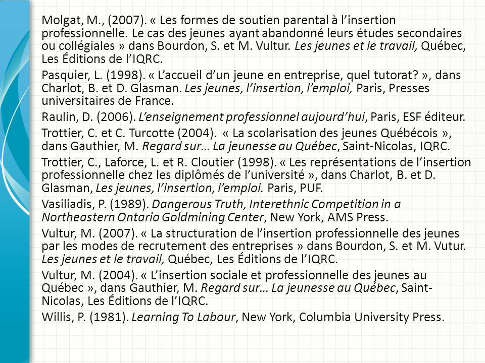 Molgat, M., (2007).« Les formes de soutien parental à linsertion professionnelle.